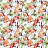 KiefernWeihnachtsbaumzweige, Fuchstiere in den roten Feiertagshüten Nahtloser Hintergrund für Weihnachten watercolor stock abbildung