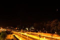 Kiel, Alemanha 28 de setembro de 2015 as impressões do sangue de setembro moon o brilho sobre a capital de estado de Schleswig-Ho Foto de Stock