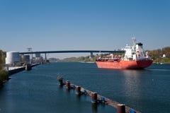 Kiel canal. / lock of holtenau Stock Photos
