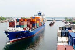 Kiel Canal de aproximação, Alemanha fotografia de stock