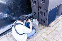 Filming a Netflix Documentary during the 125th Kieler Woche 2019, Kiel, Germany. Kiel, Germany - June 24th 2019: Filming the Netflix Documentary `UTE - Music royalty free stock photography