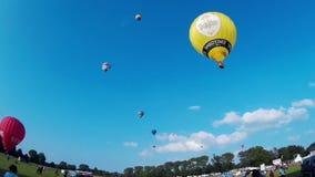 KIEL, GERMANY - JUNI 22, 2016: Hot Air Balloon Liftoff on the 10. International Balloon Sail in Kiel, Germany stock video footage