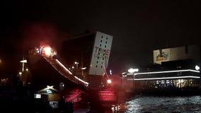 KIEL, GERMANY - JUNI 25, 2016: Ocean Jump Nightshow during the Kiel Weekl in Kiel, Germany stock video