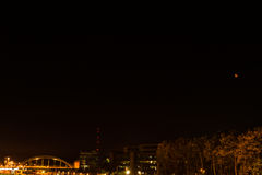 Kiel, Germany. 28th September, 2015 Impressions of the September blood moon shining over the state capital of Schleswig-Holstein, Royalty Free Stock Photo