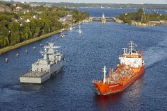 Kiel - Tanker at the Kiel Canal Royalty Free Stock Photo