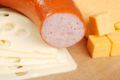 Kielbasa with cheddar and swiss cheese Royalty Free Stock Photo