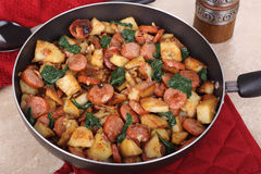 Kielbasa Potato Meal Stock Images