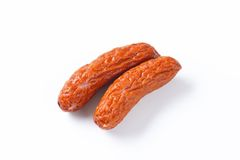 Kielbasa sausages on white background Royalty Free Stock Images