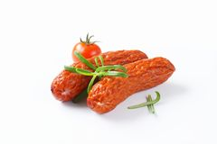 Kielbasa sausages on white background Stock Image