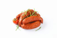 Kielbasa sausages on white background Stock Images