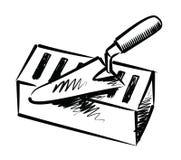 Kielnia i cegła ilustracji