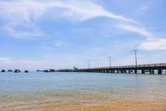 KIEN GIANG,越南,第12, 2018年:在Nha的码头在儿子海岛, Kien Giang,越南上靠岸 在Phu Quoc海岛附近 免版税库存图片