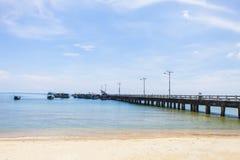 KIEN GIANG,越南,第12, 2018年:在Nha的码头在儿子海岛, Kien Giang,越南上靠岸 在Phu Quoc海岛附近 库存照片