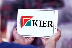 Kier Group logo. Logo of Kier Group on samsung tablet. Kier Group plc is a construction, services and property group active in building and civil engineering royalty free stock image