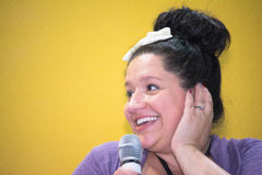 Kiera Cass. Sao Paulo Brazil - August 23 2014: Kiera Cass discussing her bestselling series The Selection at the 23rd Sao Paulo International Book Biennial fair Royalty Free Stock Photos