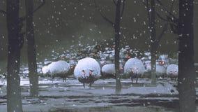 Kierdel demonów cakle w zima krajobrazie ilustracji