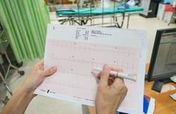 Kierowa analiza, elektrokardiograma wykres ECG w ręki lekarce przy szpitalem obraz stock
