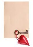 Kierowa dekoracja i klucz na pustym papierze ciąć na arkusze Obraz Royalty Free