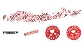 Kierowa kolaż mapa i Grunge znaczki dla walentynek Indonezja, Flores wyspy - ilustracja wektor