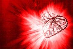 Kierowa kształt rama spaja i promieniejący światło na czerwieni Fotografia Stock