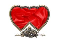 Kierowa obrazek rama, walentynka obrazka rama na bielu Zdjęcia Royalty Free