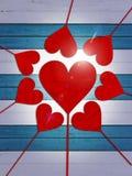 Kierowa serce miłości valentines dnia drewna deska ilustracja wektor