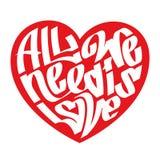 Kierowa typografia Miłości typografia Wszystko potrzebujemy jest miłością Graffiti styl royalty ilustracja