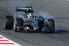 Kierowca Lewis Hamilton Drużynowy Mercedez Obraz Royalty Free
