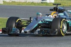 Kierowca Lewis Hamilton Drużynowy Mercedez Zdjęcia Stock