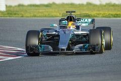 Kierowca Lewis Hamilton Drużynowy Mercedez Zdjęcie Stock