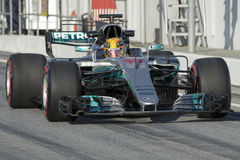 Kierowca Lewis Hamilton Drużynowy Mercedez Obraz Stock