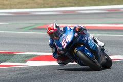 Kierowca Mattia Pasini Italtrans drużyna Moto2 Potwór Energetyczny Uroczysty Catalonia Prix Zdjęcie Royalty Free