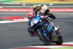 Kierowca Mattia Pasini Italtrans drużyna Moto2 Potwór Energetyczny Uroczysty Catalonia Prix Zdjęcia Stock