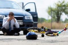 Kierowca po wypadku samochodowego Zdjęcie Royalty Free