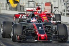 Kierowca Romain Grosjean Drużynowy Haas Zdjęcia Stock