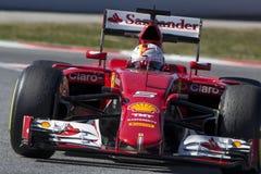 Kierowca Sebastian Vettel Drużynowy Ferrari Zdjęcia Stock