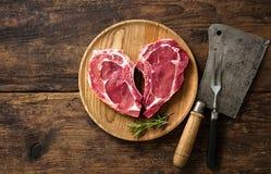 Kierowego kształta cielęciny mięsa surowi świezi stki Obrazy Royalty Free