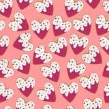 Kierowego kształta imbirowi ciastka z mrożeniem, mali serca dla St walentynki ` s dnia bezszwowego wzoru i Zdjęcie Stock