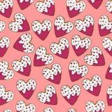 Kierowego kształta imbirowi ciastka z mrożeniem, mali serca dla St walentynki ` s dnia bezszwowego wzoru i Fotografia Stock