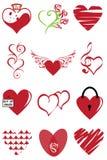 Kierowej valentine ikony ustalona wektorowa ilustracja Grafika, curlicues Fotografia Royalty Free
