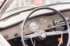 Kierownica retro samochód, Agde, Francja Zakończenie Zdjęcie Royalty Free