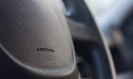 Kierownica z airbag etykietką Zdjęcie Royalty Free