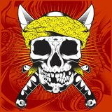 Kierownicza czaszka jest ubranym bandany i przecinającego wektor ilustracja wektor