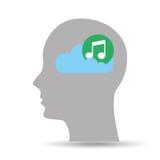 Kierownicza sylwetki chmury notatki muzyka Zdjęcie Royalty Free