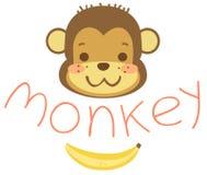 Kierownicze kreskówek małpy, banan i Fotografia Stock