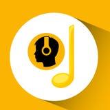 Kierowniczej sylwetki czerni słuchająca muzyczna notatka Obrazy Stock