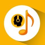 Kierowniczej sylwetki muzyki słuchająca notatka Obraz Stock