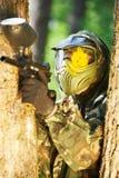 kierowniczy paintball gracza strzał Fotografia Stock