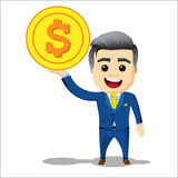 Kierownika charakter z dolar monetą Obrazy Stock