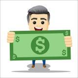 Kierownika charakter z dolarowym rachunkiem w rękach Zdjęcia Stock